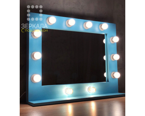 Гримерное зеркало с подсветкой и полкой 60х80 Голубой